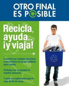 Concurso solidario en los colegios de Málaga para el reciclaje de aparatos eléctricos y electrónicos con donativos para Cáritas.